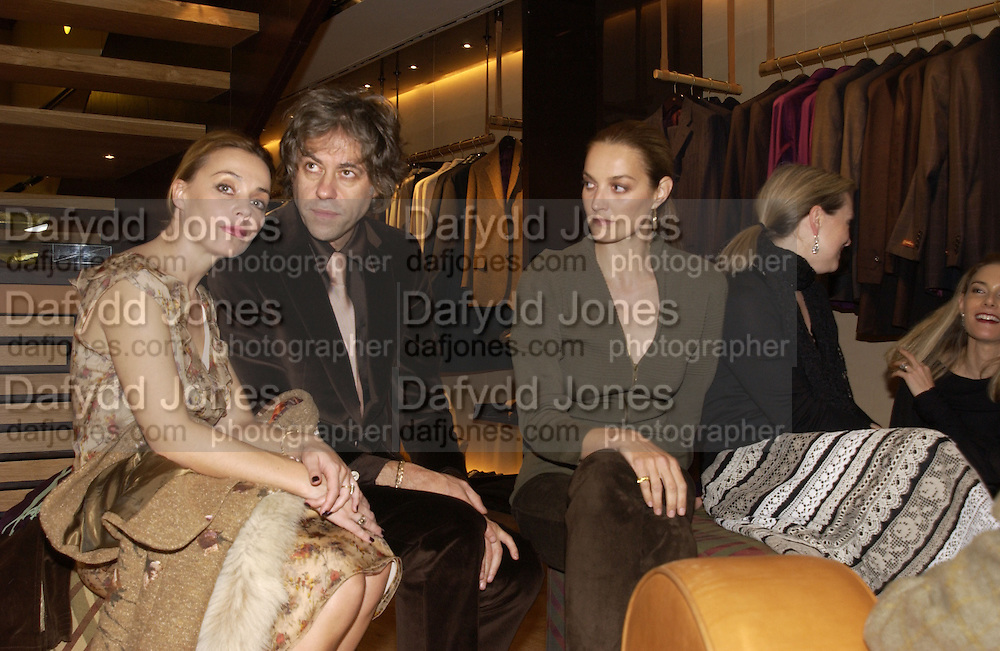 Jeanne Marine,  Sir Bob  Geldof and Catherine Bailey. . Re-opening of Mulberry. New Bond St. London. 23 October 2001. © Copyright Photograph by Dafydd Jones 66 Stockwell Park Rd. London SW9 0DA Tel 020 7733 0108 www.dafjones.com