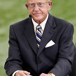 Jan 9, 2012; New Orleans, LA, USA; ESPN analyst Lou Holtz on the set of ESPN before the 2012 BCS National Championship game between the LSU Tigers and the Alabama Crimson Tide at the Mercedes-Benz Superdome.  Mandatory Credit: Derick E. Hingle-US PRESSWIRE