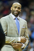 MEMPHIS, TN - DECEMBER 10:  Vince Carter #15 of the Memphis Grizzlies on the bench in street close during a game against the Golden State Warriors at the FedExForum on December 10, 2016 in Memphis, Tennessee.  The Grizzlies defeated the Warriors 110-89.  NOTE TO USER: User expressly acknowledges and agrees that, by downloading and or using this photograph, User is consenting to the terms and conditions of the Getty Images License Agreement.  (Photo by Wesley Hitt/Getty Images) *** Local Caption *** Vince Carter