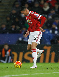 Chris Smalling of Manchester United in action  - Mandatory byline: Jack Phillips/JMP - 07966386802 - 28/11/2015 - SPORT - FOOTBALL - Leicester - King Power Stadium - Leicester City v Manchester United - Barclays Premier League