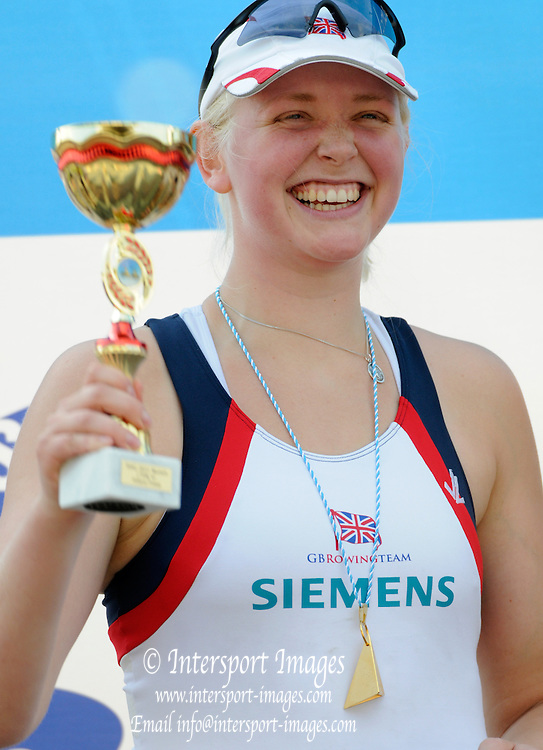 Munich, GERMANY, Adaptive squad, Pam RELPH, holds the trophy after the  finals  at the FISA World Cup on the Munich Olympic Rowing Course, Saturday  28/05/2011  [Mandatory Credit Peter Spurrier/ Intersport Images].