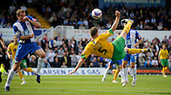 Hartlepool - Saturday August 29th, 2009: Michael Nelson of Norwich City scores an acrobatic opening goal during the Coca Cola League One match at Victoria Park, Hartlepool. (Pic by Jed Wee/Focus Images)..