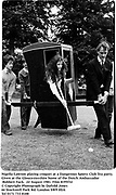 Nigella Lawson playing croquet at a Dangerous Sports Club Tea party.  Given at the Gloucestershire home of the Dutch Ambassador Robbert Fack. 22 August 1981. Film 8195f32<br />