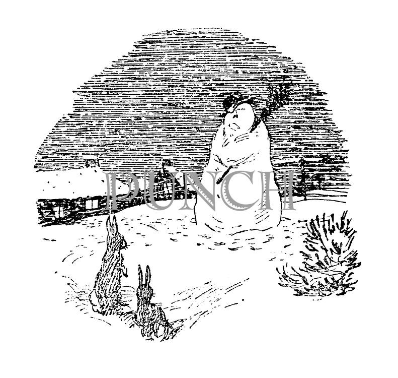 (Winter scene: snowman and rabbits)