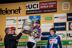 DE JONG Thalita (NED) on the podium winning her first CX World Cup race, UCI Cyclo-cross World Cup at Valkenbrug, The Netherlands, 23 October 2016. Photo by Pim Nijland / PelotonPhotos.com | All photos usage must carry mandatory copyright credit (Peloton Photos | Pim Nijland)