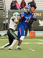 St. Marys Rams Harrison Heath (26), defends a pass intended for Folsom Bulldogs Joe Ngata (10), during the third quarter as the Folsom Bulldogs play the St. Mary's Rams in the Sac-Joaquin Section Division I championship game at Hornet Stadium at Sacramento State, Saturday Dec 2, 2017. <br /> photo by Brian Baer