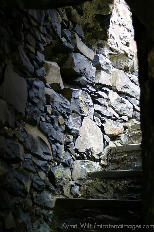 Europe, Ireland, Northern Ireland, Bushmills. Dunluce Castle interior stairs up tower.