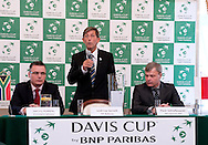 (L) Janusz Kubicki president of Zielona Gora City & (C) Andrew Jarrett - official ITF referee & (R) Piotr Szkielkowski - vice president of Polish Tennis Association while official draw one day before the BNP Paribas Davis Cup 2013 between Poland and South Africa at MOSiR Hall in Zielona Gora on April 04, 2013...Poland, Zielona Gora, April 04, 2013..Picture also available in RAW (NEF) or TIFF format on special request...For editorial use only. Any commercial or promotional use requires permission...Photo by © Adam Nurkiewicz / Mediasport