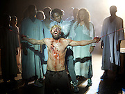 Jesus Christ Superstar <br /> by Tim Rice & Andrew Lloyd Webber <br /> at The Regent's Park Open Air Theatre, London, Great Britain <br /> press photocall<br /> 19th July 2016 <br /> <br /> Declan Bennett as Jesus <br /> <br /> Tyrone Huntley as Judas <br /> <br /> <br /> <br /> Photograph by Elliott Franks <br /> Image licensed to Elliott Franks Photography Services