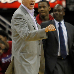 November 7, 2012; New Orleans, LA, USA; Philadelphia 76ers head coach Doug Collins against the New Orleans Hornets during the second half of a game at the New Orleans Arena. The 76ers defeated the Hornets 77-62. Mandatory Credit: Derick E. Hingle-US PRESSWIRE