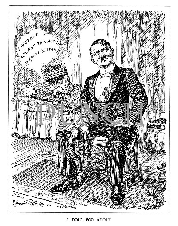A Doll for Adolf. (Hitler as ventiloquist with Marshal Petain as his puppet who declares 'I protest against this action by Great Britain')
