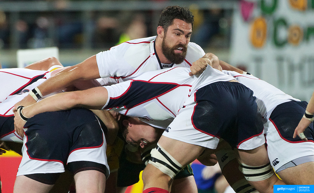 Pat Danahy, USA, in the scrum during the Australia V USA, Pool C match during the IRB Rugby World Cup tournament. Wellington Stadium, Wellington, New Zealand, 23rd September 2011. Photo Tim Clayton...