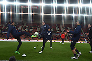 Everton players warm up before the  Barclays Premier League match, Stoke city v Everton at the Britannia Stadium in Stoke on Trent , Staffs on Wed 4th March 2015.<br /> pic by Andrew Orchard, Andrew Orchard sports photography.