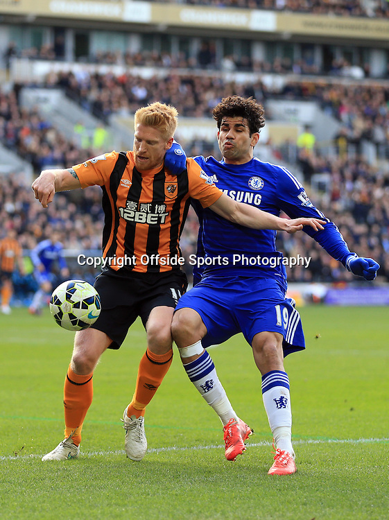 22 March 2015 - Barclays Premier League - Hull City v Chelsea - Paul McShane of Hull City in action with Diego Costa of Chelsea - Photo: Marc Atkins / Offside.