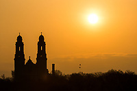Sunrise at the St. Cecilia Cathedral on Thursday, April 13, 2017, in Omaha.<br /> <br /> MATT DIXON/THE WORLD-HERALD