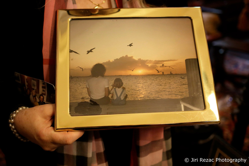 UK ENGLAND THAME 27AUG14 - Family photograph of deceased Bee Gees singer Robin Gibb with his son during a sunset in Florida, reproduced at his home in Thame, Oxfordshire.<br /> <br /> jre/Photo by Jiri Rezac<br /> <br /> &copy; Jiri Rezac 2014
