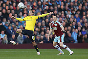 Gaston Ramirez of Middlesbrough tries to control the ball under pressure from Dean Marney of Burnley during the Sky Bet Championship match between Burnley and Middlesbrough at Turf Moor, Burnley, England on 19 April 2016. Photo by Simon Brady.