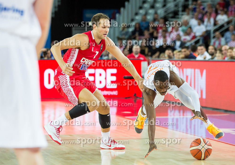 Bojan Bogdanovic of Croatia vs Charlon Kloof of Netherlands during basketball match between Netherlands and Croatia at Day 5 in Group C of FIBA Europe Eurobasket 2015, on September 9, 2015, in Arena Zagreb, Croatia. Photo by Vid Ponikvar / Sportida