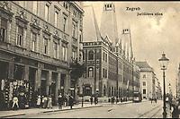 Zagreb : Jurišićeva ulica. <br /> <br /> Impresum[Zagreb : M. Eisenmenger, između 1910. i 1920].<br /> Materijalni opis1 razglednica : tisak ; 9,1 x 14,1 cm.<br /> NakladnikEisenmenger, M.<br /> Mjesto izdavanjaZagreb<br /> Vrstarazglednice<br /> ZbirkaGrafička zbirka NSK • Zbirka razglednica<br /> ProjektPozdrav iz Hrvatske<br /> Formatimage/jpeg<br /> PredmetZagreb –– Jurišićeva ulica<br /> Jezikhrvatski<br /> SignaturaRZG-JURIS-14<br /> Obuhvat(vremenski)20. stoljeće<br /> NapomenaRazglednica nije putovala.<br /> PravaJavno dobro<br /> Identifikatori000921708<br /> NBN.HRNBN: urn:nbn:hr:238:141796 <br /> <br /> Izvor: Digitalne zbirke Nacionalne i sveučilišne knjižnice u Zagrebu