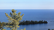 A pleasant view of Porter's Island and Lake Superior, as seen from Copper Harbor Overlook.