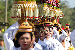 November 18, 2018 - Kendari, Southeast Sulawesi, Indonesia - Transmigration residents from Denpasar Bali and settled in Southeast Sulawesi were involved in the implementation of the Balinese cultural festival which was held in the transmigration residential area of ??Jati Bali, South Konawe, Southeast Sulawesi (Credit Image: © Muh Aris/Pacific Press via ZUMA Wire)