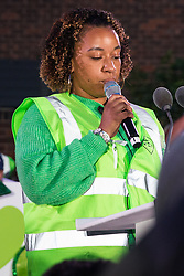 London, UK. 14 June, 2019. A speaker reads out the names of members of the Grenfell community who lost their lives in the Grenfell Tower fire following the Grenfell Silent Walk on the second anniversary of the tragedy. 72 people died and over 70 were injured in the Grenfell Tower fire.