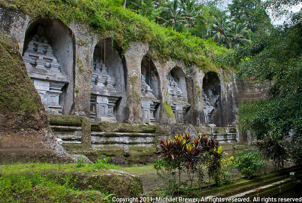 Ancient stone-hewn Hindu altars Gunung Kawi, Gianyar Regency, Bali, Indonesia