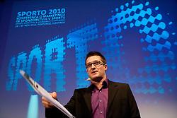 Moderator Sasa Jerkovic during Sporto  2010 Gala Dinner and Awards ceremony at Sports marketing and sponsorship conference, on November 29, 2010 in Hotel Slovenija, Portoroz/Portorose, Slovenia. (Photo By Vid Ponikvar / Sportida.com)