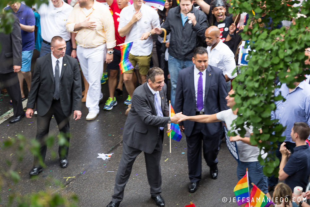 New York LGBT Pride Parade 2015, corner of Christopher Street and Gay Street, West Village Andrew Cuomo