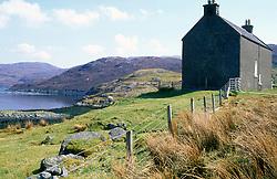 Remote house next to loch; Maraig; Harris; Outer Hebrides; Scotland