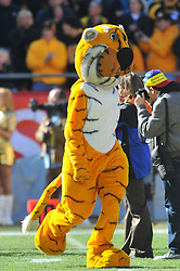 Nov 27, 2010; Kansas City, MO, USA; Missouri Tigers mascot entertains the crowd before the game against the Kansas Jayhawks at Arrowhead Stadium. Missouri won 35-7. Mandatory Credit: Denny Medley-US PRESSWIRE