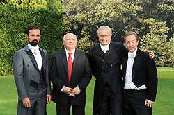 Left to right, EVGENY LEBEDEV, MIKHAIL GORBACHEV,  ALEXANDER LEBEDEV and GEORDIE GRIEG at the Raisa Gorbachev Foundation Party held at Stud House, Hampton Court Palace on 5th June 2010.  The night is in aid of the Raisa Gorbachev Foundation, an international fund fighting child cancer.