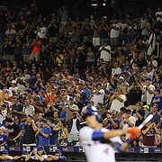 Wilmer Flores, New York Mets, is cheered by the Mets fans as he prepares to bat during the New York Mets Vs Washington Nationals MLB regular season baseball game at Citi Field, Queens, New York. USA. 2nd August 2015. Photo Tim Clayton