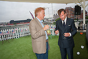ANDREW STIRLING; ALAN O'SULLIVAN, Charlie Gilkes and    Duncan Stirling host Inception Group's Hamptons Garden party on the rooftop garden of the Ballymore marketing suite overlooking the site of the new US embassy. Embassy Gardens, London SW8.  12 July 2012.