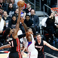 08 January 2017: Miami Heat center Hassan Whiteside (21) goes for the baby hook over LA Clippers center DeAndre Jordan (6) during the LA Clippers 98-86 victory over the Miami Heat, at the Staples Center, Los Angeles, California, USA.