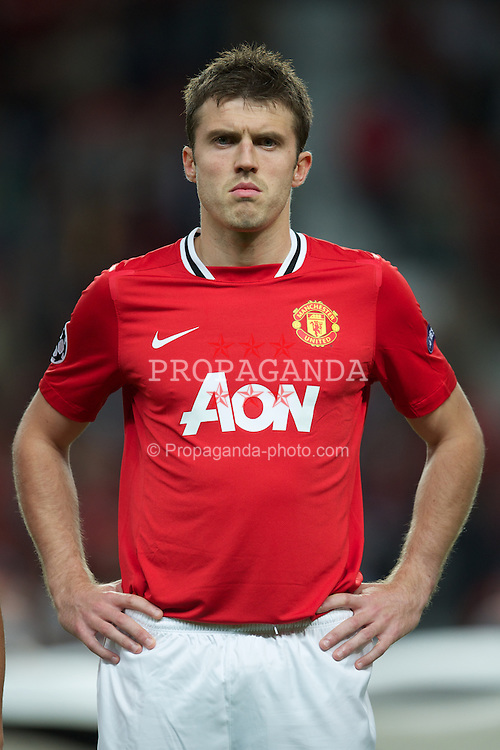 MANCHESTER, ENGLAND - Tuesday, September 27, 2011: Manchester United's Michael Carrick before the UEFA Champions League Group C match against FC Basel 1893 at Old Trafford. (Pic by David Rawcliffe/Propaganda)