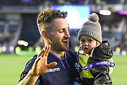 Tommy Laidlaw and son after winning the 2018 Autumn Test match between Scotland and Fiji at Murrayfield, Edinburgh, Scotland on 10 November 2018.