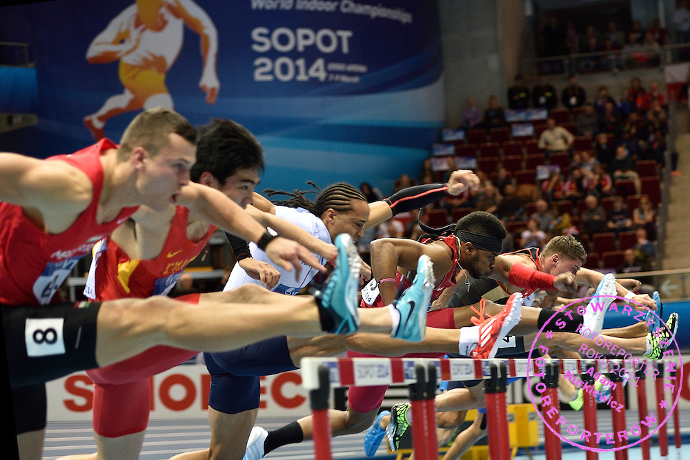 (2R) Omo Osaghae of USA competes in men's 60 meters hurdles Semi-Final during the IAAF Athletics World Indoor Championships 2014 at Ergo Arena Hall in Sopot, Poland.<br /> <br /> Poland, Sopot, March 9, 2014.<br /> <br /> Picture also available in RAW (NEF) or TIFF format on special request.<br /> <br /> For editorial use only. Any commercial or promotional use requires permission.<br /> <br /> Mandatory credit:<br /> Photo by &copy; Adam Nurkiewicz / Mediasport