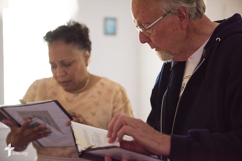 Dr. Ardon Albrecht and Actress Yvette Jones-Smedley review lines during filming of 'The First Rosa' documentary on Wednesday, Sept. 24, 2014, at Hope Lutheran Church near Selma, Ala. LCMS Communications/Erik M. Lunsford