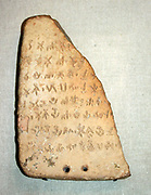 Clay tablet inscribed with Linear 'B' script. Minoan dated to 1400 BC, from Knossos. Crete.
