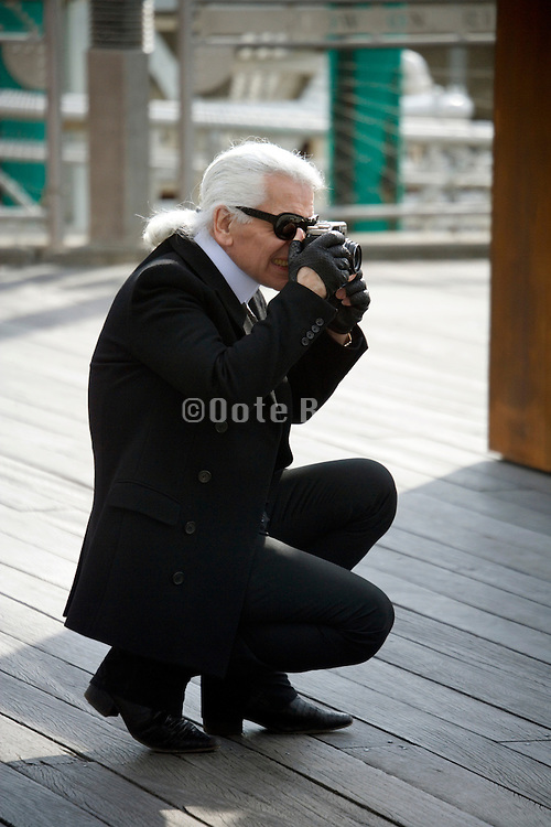 Karl Lagerfeld during a photo shoot on the Fulton Landing, Brooklyn, NY, March 24, 2008