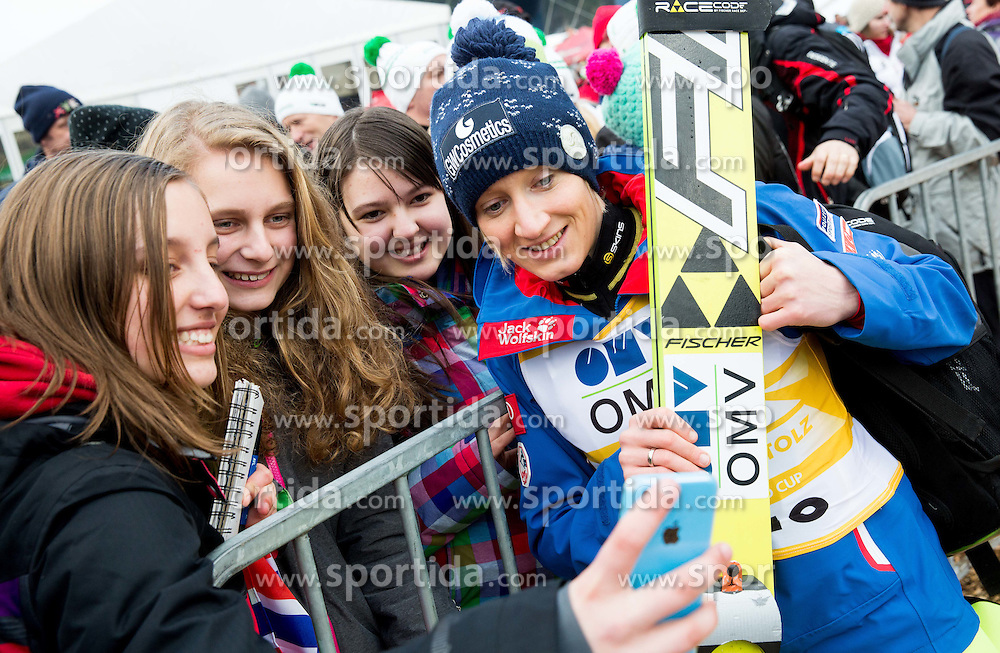 Fans with Daniela Iraschko-Stolz (AUT) during Final Round at Day 1 of World Cup Ski Jumping Ladies Ljubno 2015, on February 14, 2015 in Ljubno, Slovenia. Photo by Vid Ponikvar / Sportida