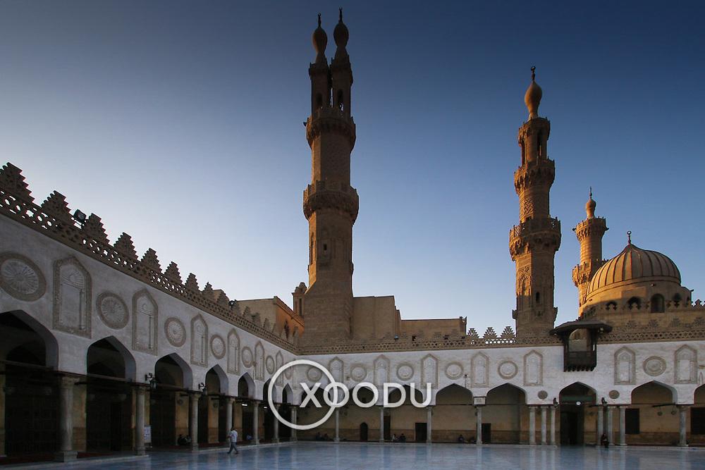 Al-Azhar mosque coutryard arches & minarets, Cairo, Egypt (December 2007)