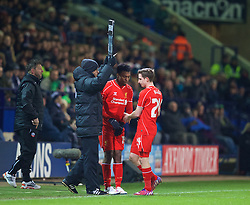 BOLTON, ENGLAND - Wednesday, February 4, 2015: Liverpool's substitute Daniel Sturridge replaces Joe Allen against Bolton Wanderers during the FA Cup 4th Round Replay match at the Reebok Stadium. (Pic by David Rawcliffe/Propaganda)
