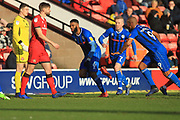 GOAL Ethan Ebanks-Landell celebrates opening the scoring 0-1 during the EFL Sky Bet League 1 match between Walsall and Rochdale at the Banks's Stadium, Walsall, England on 2 February 2019.