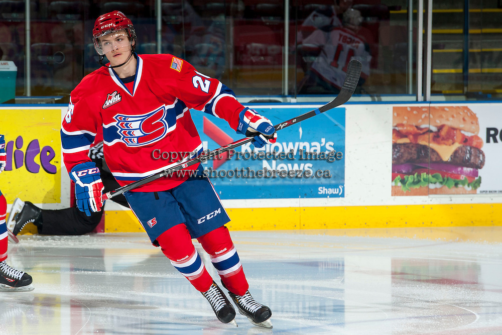 KELOWNA, CANADA - MARCH 5: Hudson Elynuik #26 of the Spokane Chiefs warms up against the Kelowna Rockets on March 5, 2014 at Prospera Place in Kelowna, British Columbia, Canada.   (Photo by Marissa Baecker/Getty Images)  *** Local Caption *** Hudson Elynuik;