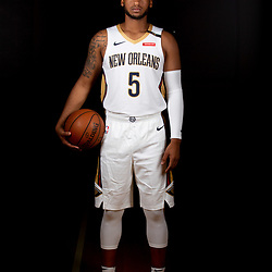 Sep 24, 2018; New Orleans, LA, USA; New Orleans Pelicans guard Trevon Bluiett (5) poses for a portrait during Media Day at Ochsner Performance Center. Mandatory Credit: Derick E. Hingle-USA TODAY Sports