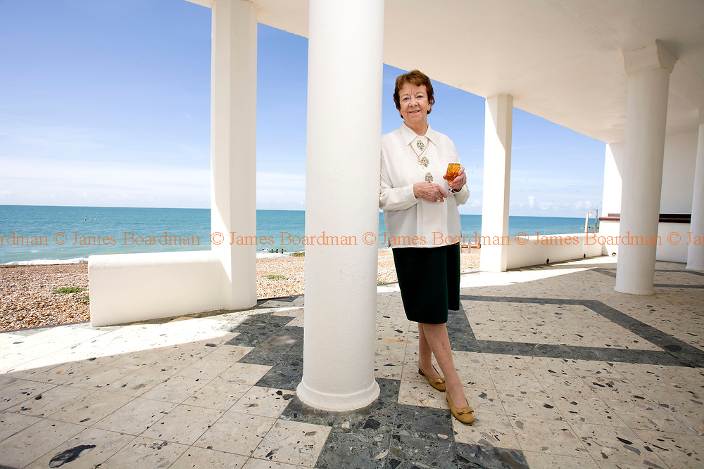 JAMES BOARDMAN / 07967642437<br /> Mrs Beryl Norris at her marine-side home in Hove, East Sussex. The 4 million pound property has a private beach, indoor swimming pool, Sauna, Jacuzz, 7 bedrooms, concealed bar and covered porch.
