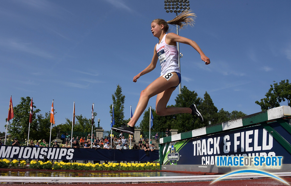 Jun 7, 2018; Eugene, OR, USA; Allie Ostrander of Boise State wins women's steeplechase heat in 9:45.96 for the fastest qualifying time in meet history during the NCAA Track and Field championships at Hayward Field.