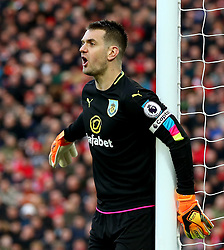 Thomas Heaton of Burnley shouts - Mandatory by-line: Matt McNulty/JMP - 12/03/2017 - FOOTBALL - Anfield - Liverpool, England - Liverpool v Burnley - Premier League